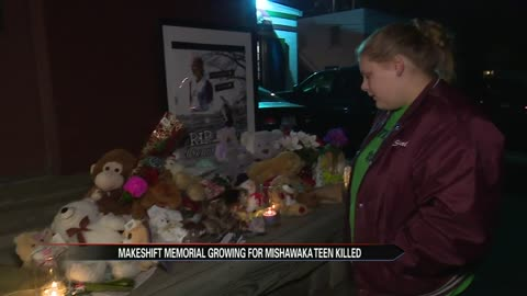 Memorial growing where slain Mishawaka teen was found